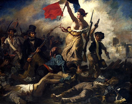 Romantic history painting. Commemorates the French Revolution of 1830 (July Revolution) on 28 July 1830.